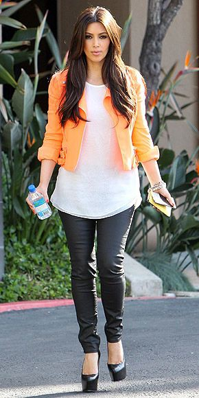 Leather Legging Outfit, Kim Kardashian, Slim-fit pants