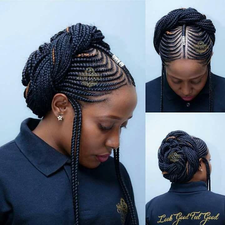 Straight up side braids hairstyle | Fulani Braids Hairstyles | Bob cut, Box braids, Braids ...