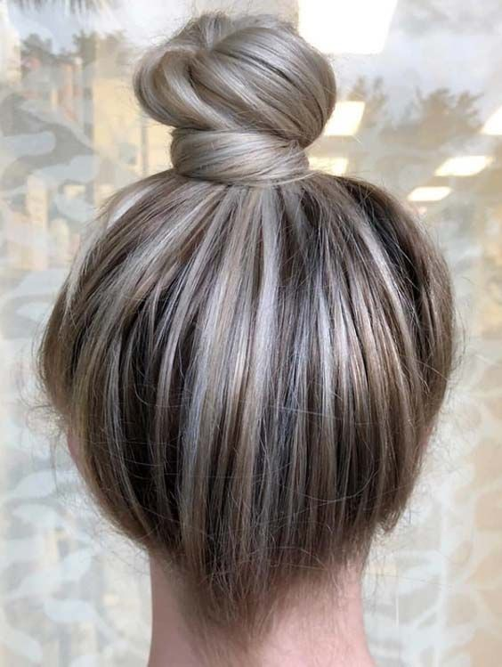 Top Knot Bun Hairstyle Ideas, Human hair color, Long hair