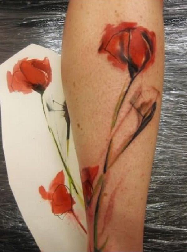 Instagram insane ideas for watercolor poppy tattoo, Watercolor painting