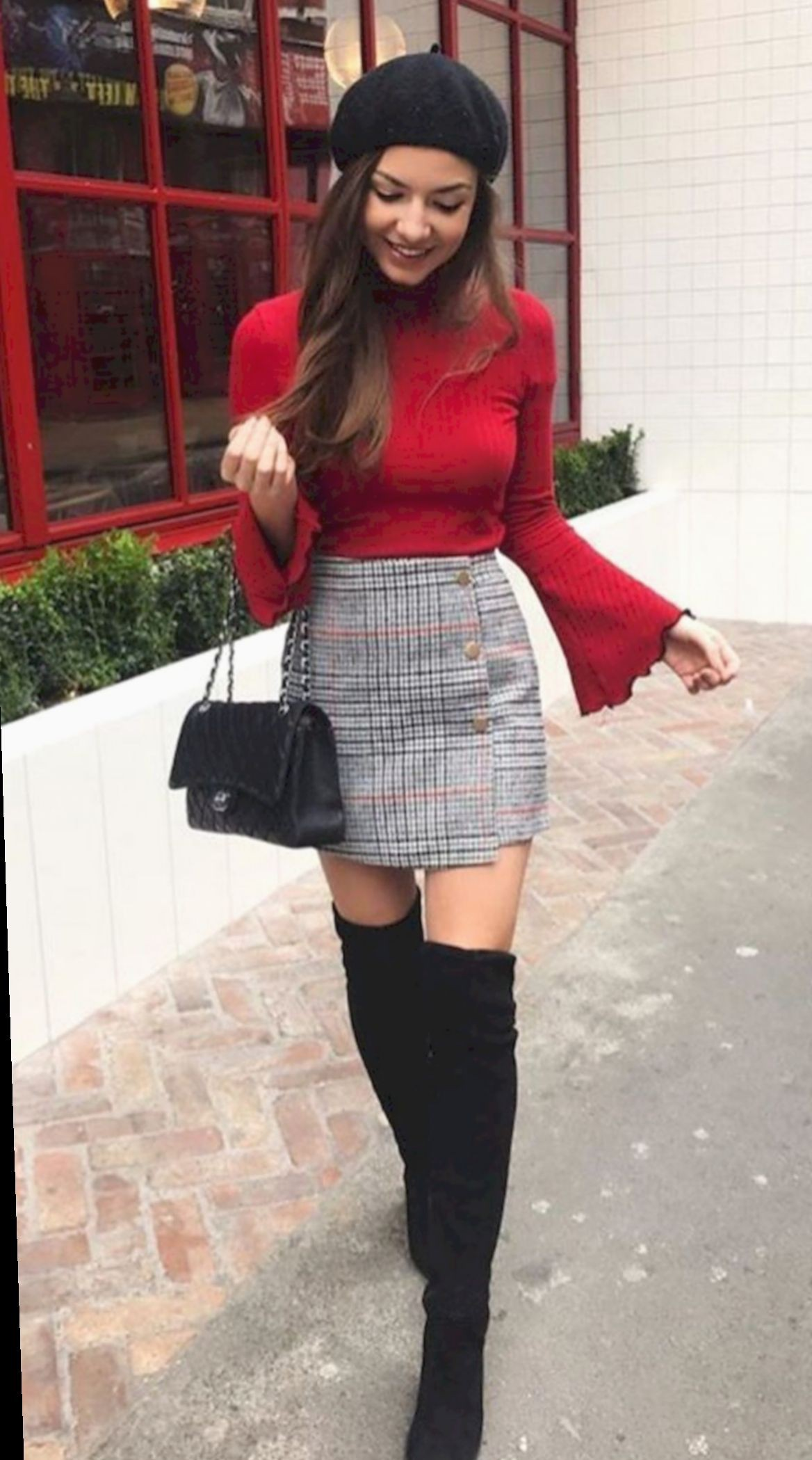 Plaid skirt winter outfit, Casual wear