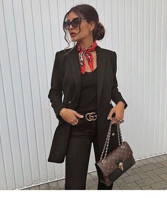 Black blazer with scarf, Casual wear