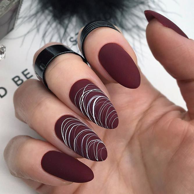 Burgundy matte acrylic nails, Nail polish