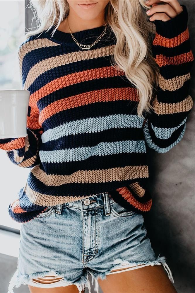 Outfits With Color Block Sweaters & Coats, Crew neck, Polo neck