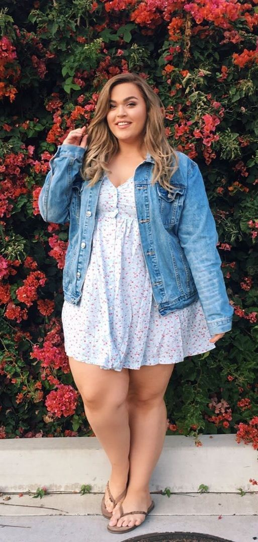 Plus size floral dress with jean jacket