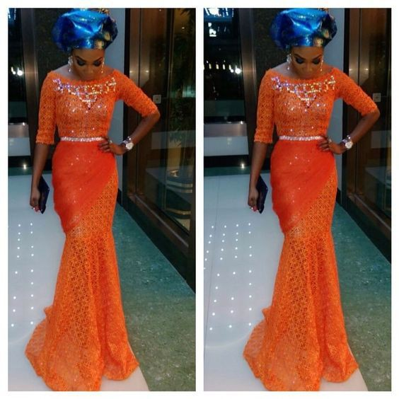 Orange african lace dress, Aso ebi