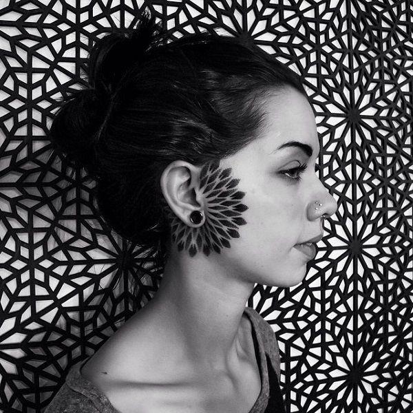 Mandala side face tattoo