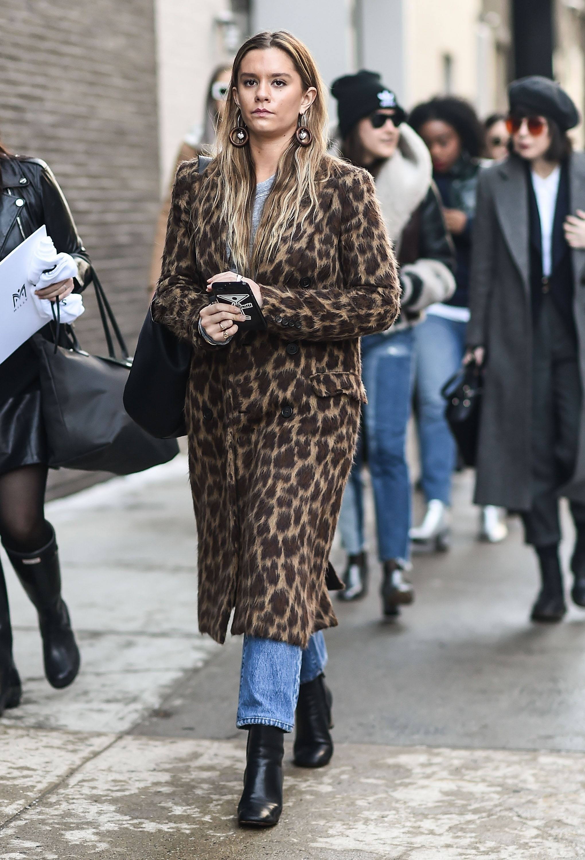 Dark brown leopard coat, Animal print