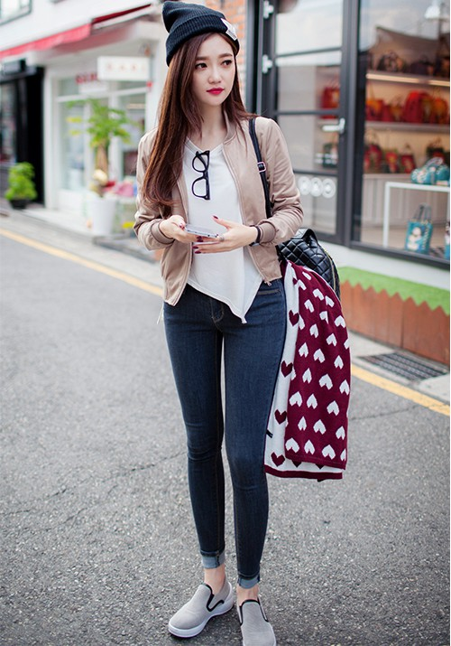 Outfit Designs For Korean Girls Fashion Street Fashion Bomber Jacket Outfit Casual Wear Fashion Blog Jacket Outfits