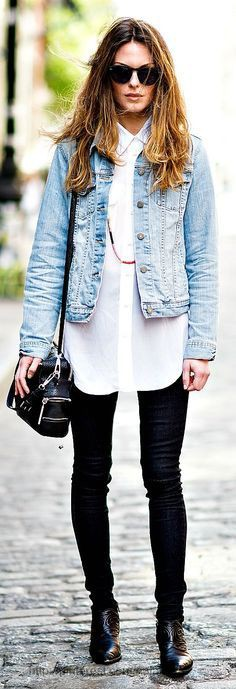 Outfits with light blue jean jacket