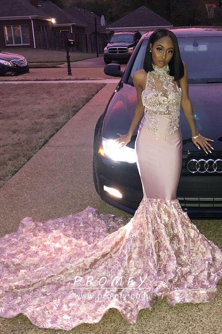 High neck long pink dress