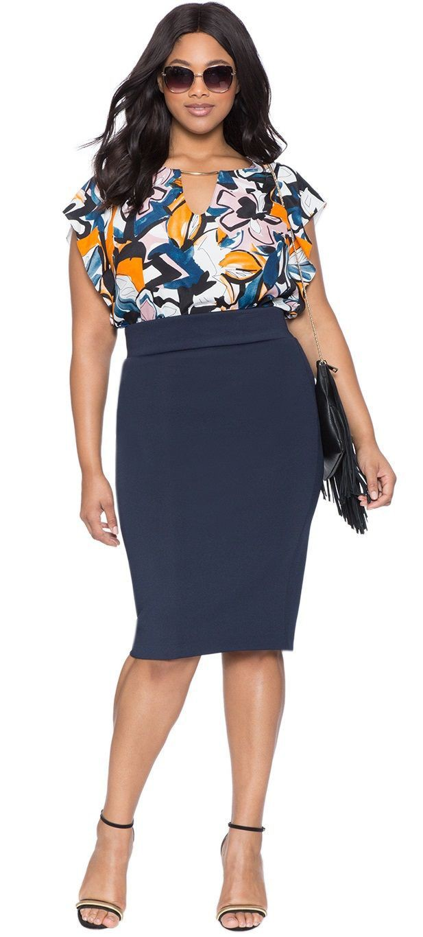 Pencil Skirt Outfit Plus Size, Pencil skirt, Plus-size model