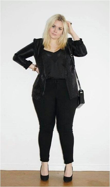 Jeans plus size all black outfit