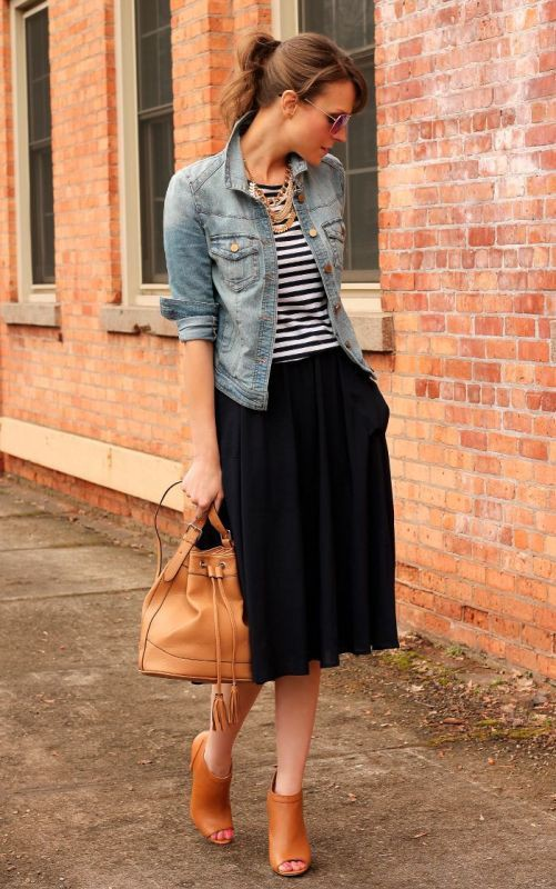 Denim jacket and skirt outfit