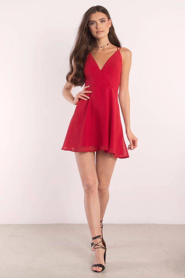Dashing style for fashion model, Red Skater Dress