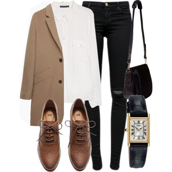 Polyvore brown oxford shoes outfit