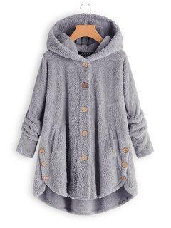 Fleece hooded hem button coat