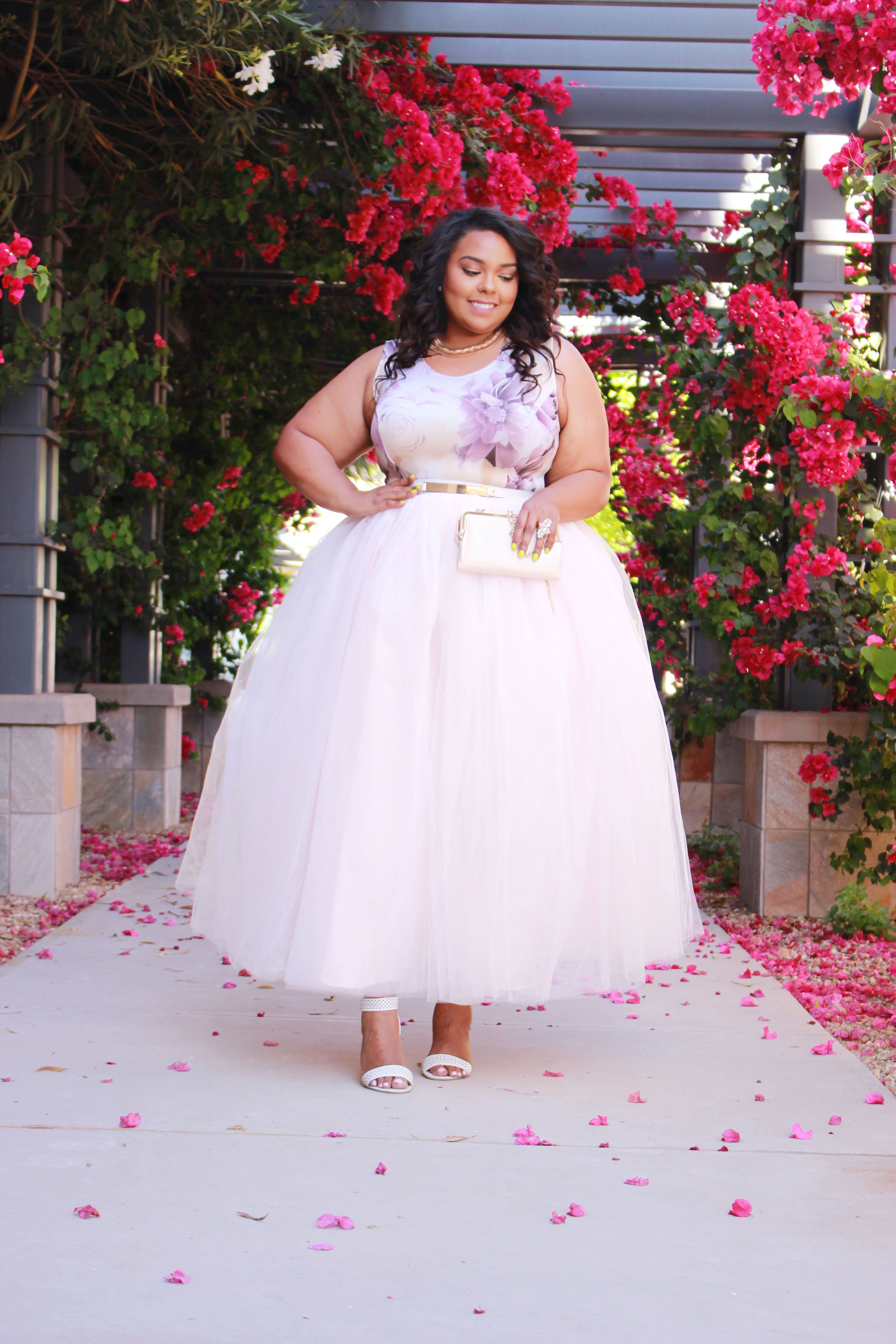 Plus size long tulle and skirt