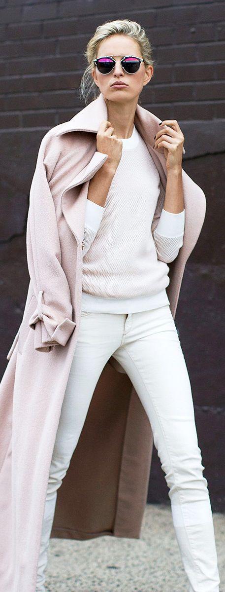 Long winter white coat, Winter clothing