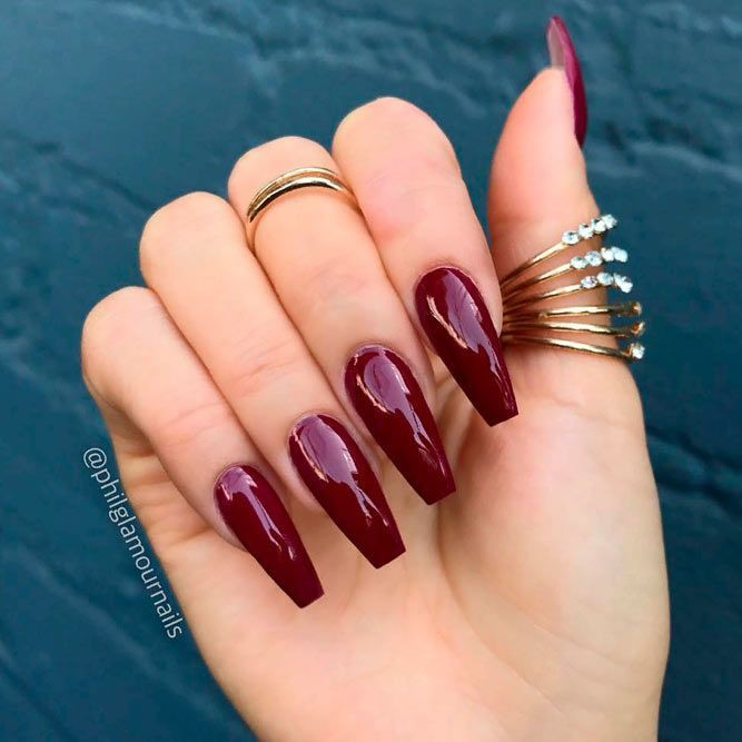 Top 20 great ideas to try burgundy nails, Artificial nails