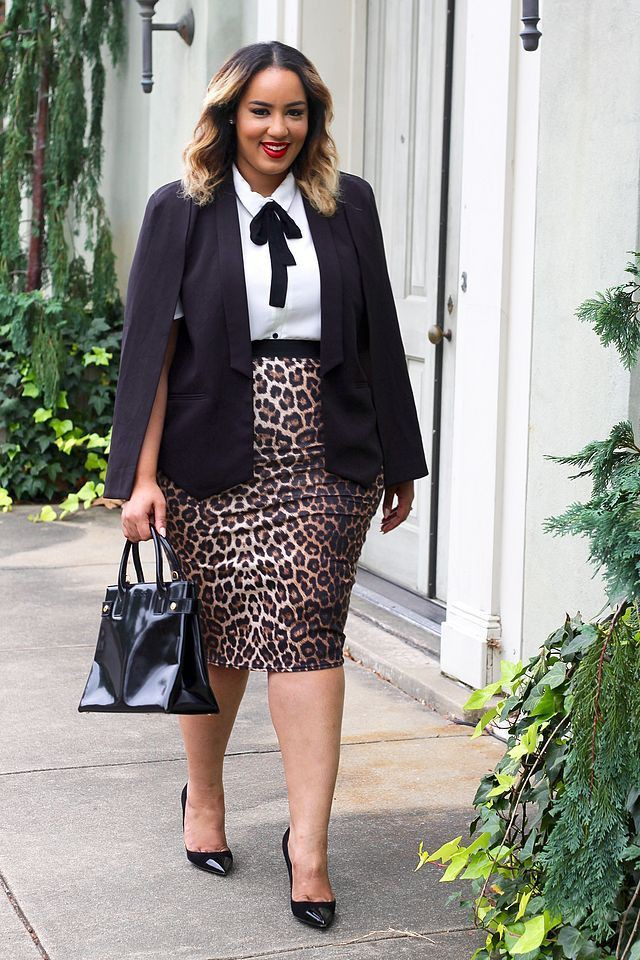 Plus size pencil skirt and blazer