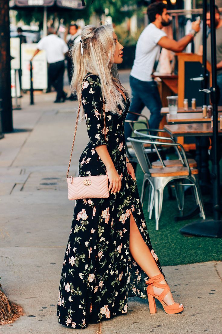 Black floral dress summer outfit