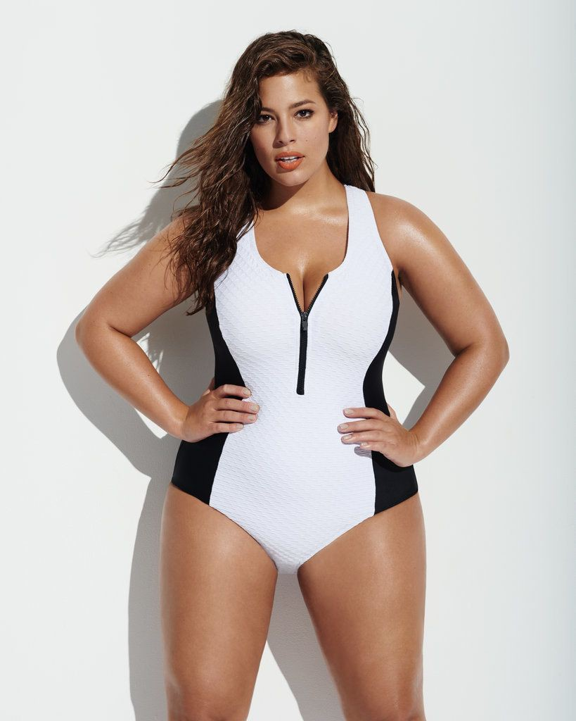 Flattering plus size swimwear, One-piece swimsuit