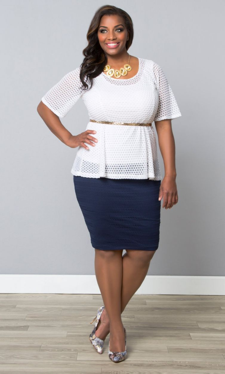 Navy pencil skirt plus size