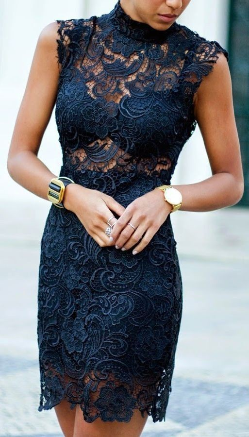 Accessories for black lace dress