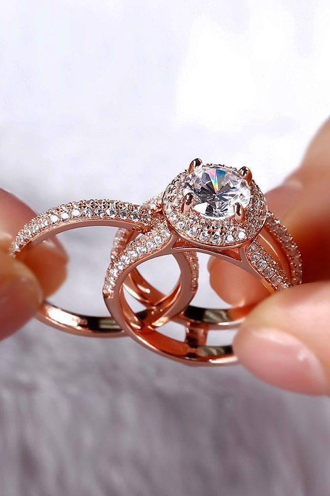Rose gold modern engagement rings
