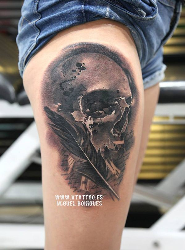 Skull and feather tattoo, Sleeve tattoo