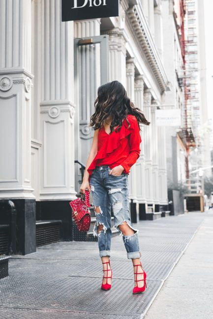 Strappy red heels outfit, High-heeled shoe