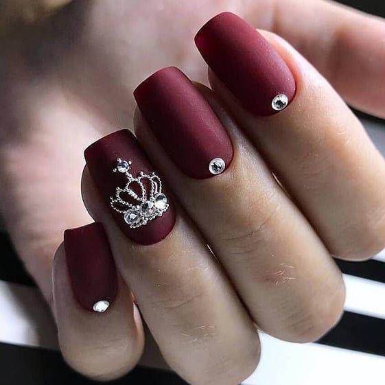 Burgundy short acrylic nail designs