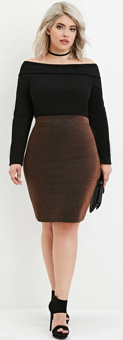 Black pencil skirt plus size