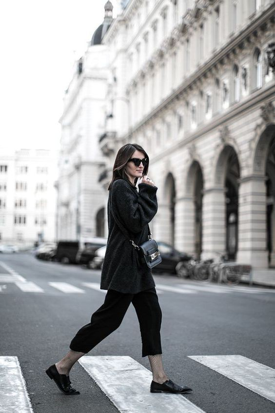 Winter Black Culottes Outfit