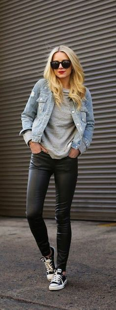 Casual leather pants outfit, Jean jacket