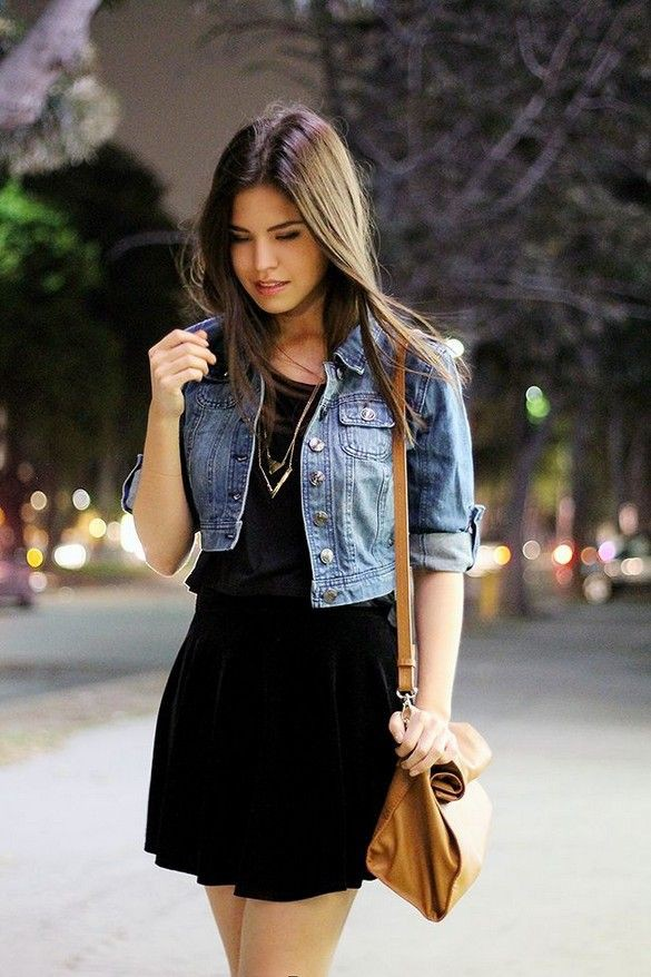 Short denim jacket with dress