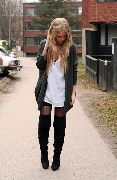 Knee high boots with tights
