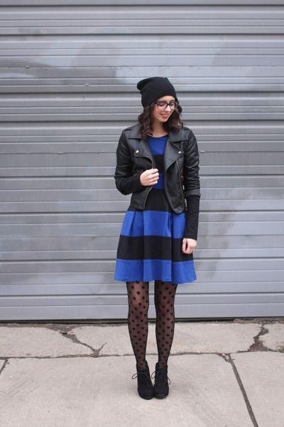 Outfits With Polka Dot Tights, Cizgili Elbise (siyah), Polka dot tights
