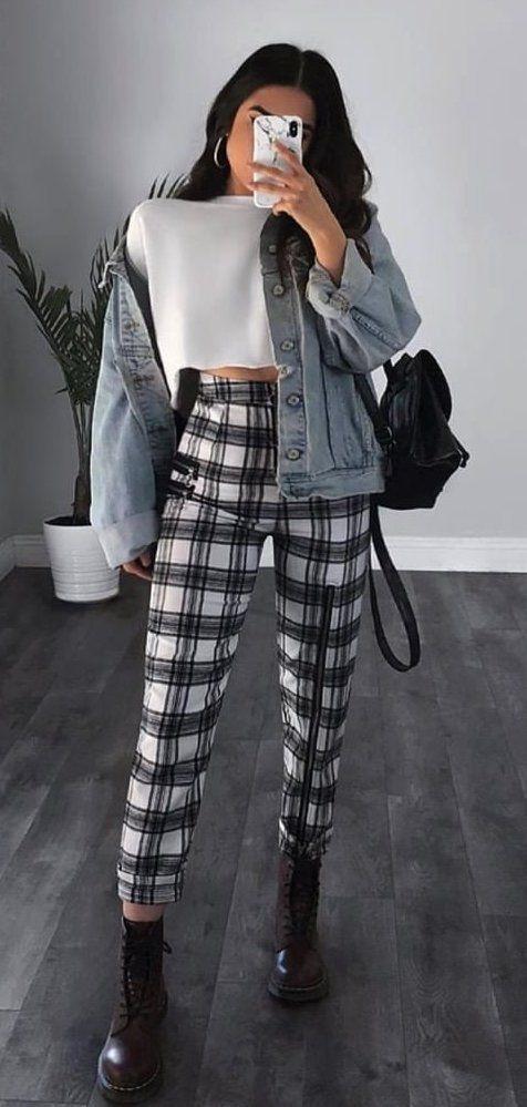 Plaid pants outfit ideas, Jean jacket