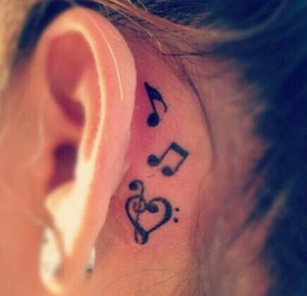 Music tattoos behind ear, Musical theatre
