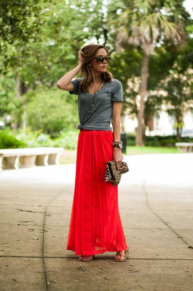 Red long skirt outfit, Maxi dress
