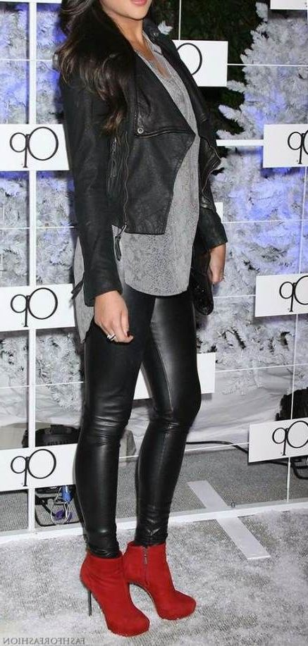 Leather Pant Outfits For Women, Leather jacket, Stiletto heel