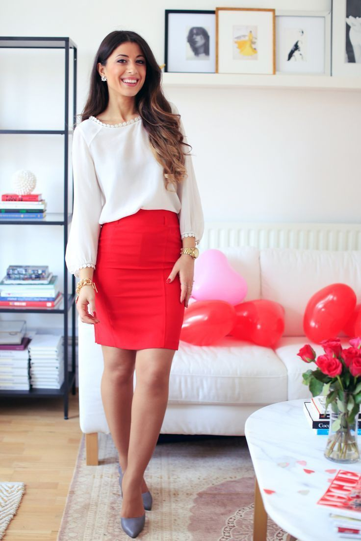 Red shirt white skirt, Casual wear