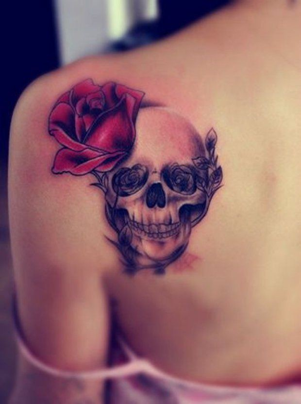 Skull and rose tattoo, Sleeve tattoo