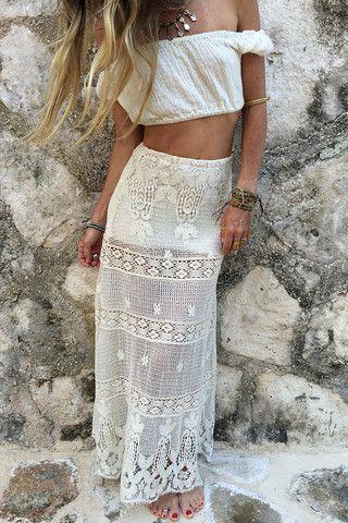 Lovely design for transparent white skirt, Bohemian style