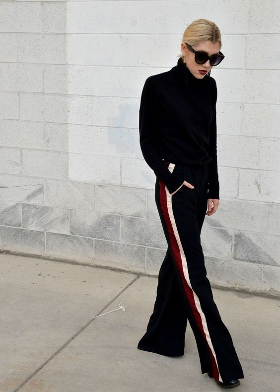 Wide leg track pants outfit