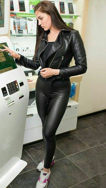 Tight leather jacket and leggins