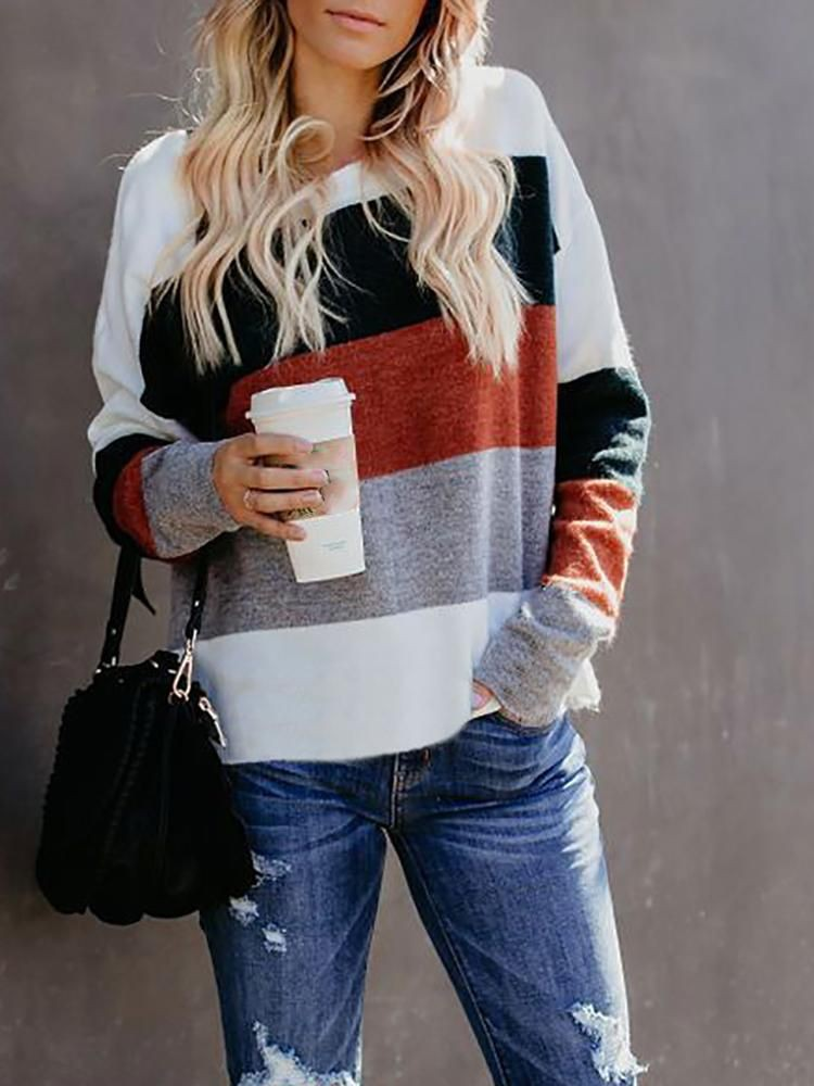 Long-sleeved Block Sweaters For Girls