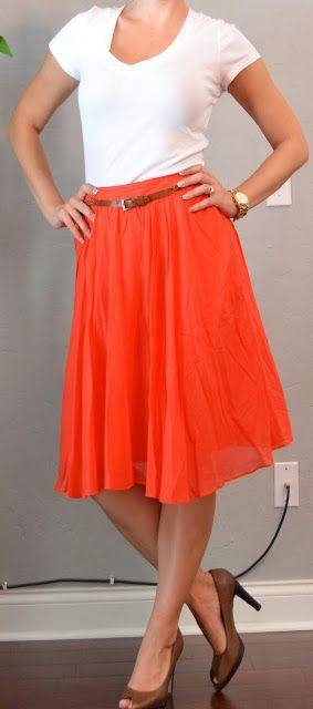 Orange midi skirt and white top